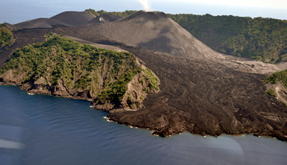 Barren Island and its flow of lava
